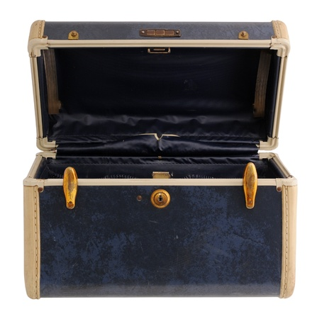 padding: Opened blue vintage suitcase