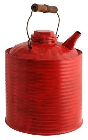 gas can: Old red painted gas can