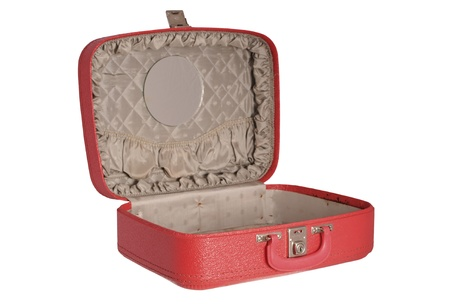 padding: Red vintage suitcase Stock Photo