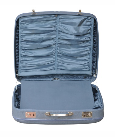 padding: Blue Vintage Suitcase - opened Stock Photo