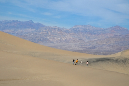Hikers on sand dunes Stock Photo - 16607982