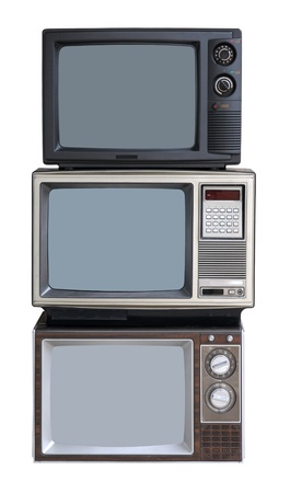 retro: Stack of three TV sets