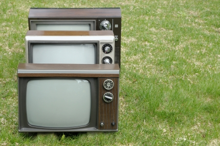 Three vintage TV sets