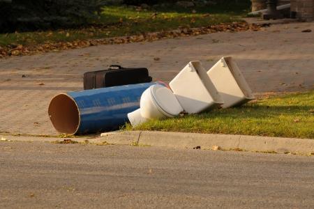 junk: Trash at a curb