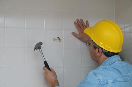 bathroom wall: Bathrom Wall Demolition