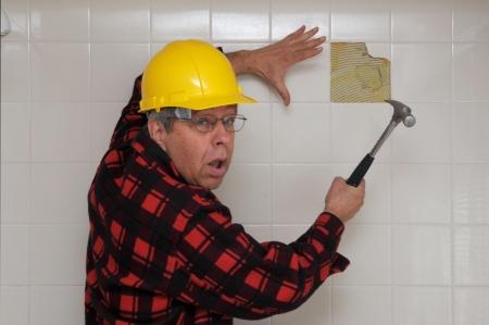 Startled handyman