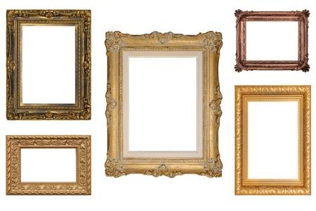 antique: 5 Antique Picture Frames Stock Photo