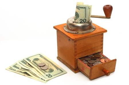 Coffee grinder with money