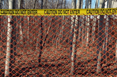 crime: Crime scene with red fence in the forest