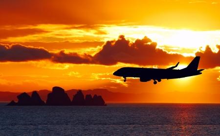 Airplane on a landing path Stock Photo