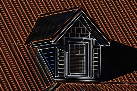 dormer: Dormer window on red roof