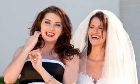 best: Happy bride and her best friend Stock Photo