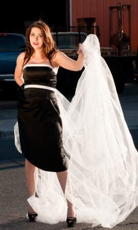 Bride in black dress and white veil photo