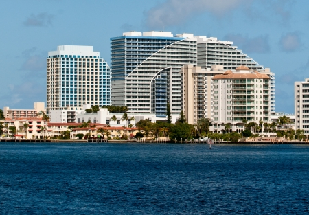Modern buildings along Fort Lauderdale waterfront Stock Photo