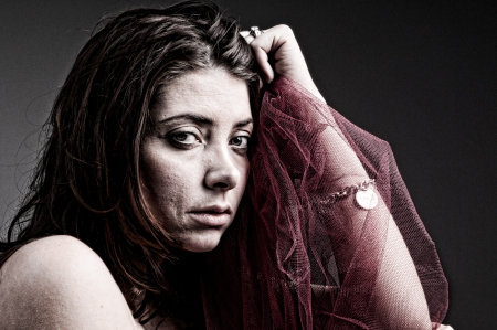 Sad woman - edgy portrait photo