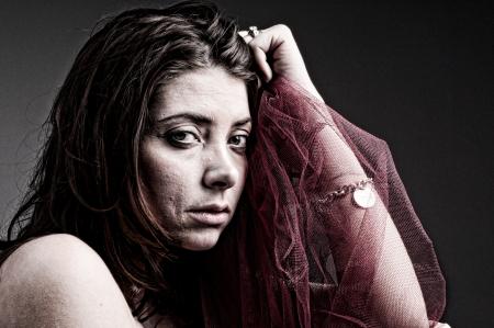 Sad woman - edgy portrait Stock Photo - 17137434
