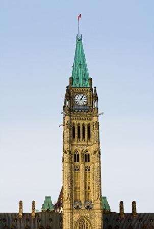 Clocktower on Centre Block of Parliament Building in Ottawa Stock Photo
