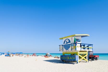 Lifeguard station on Miami beach Stock Photo