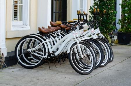 Parked bicycles 版權商用圖片