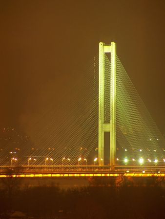 dniper: Southern bridge across Dneper. Kyiv. Ukraine. Night.