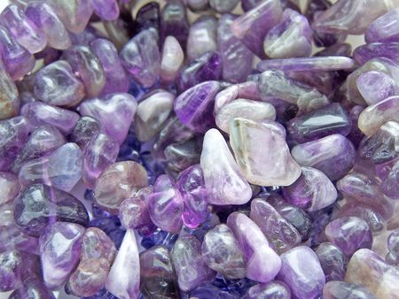 Close up of the amethyst gem stones.