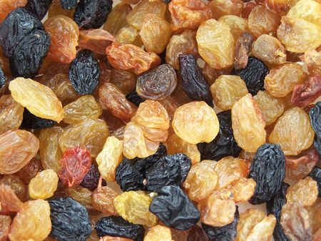 Close up of the different colored raisins. photo