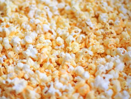 buttered: Close up of the buttered popcorn