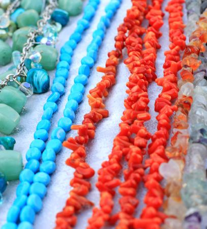Close up of the different beads photo