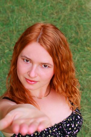 Portrait of a beautiful red-haired girl photo
