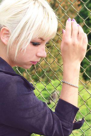 Portret van tha verdrietig blonde vrouw Stockfoto