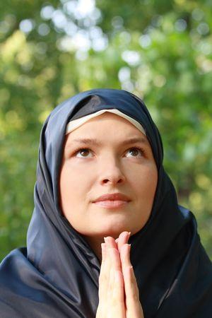 Portret van de biddende non