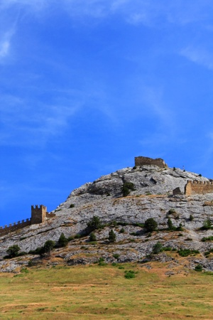Ruins of old Sudak Genoese fortress photo