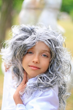 grey eyed: Portrait of the beautiful grey eyed girl in the grey wig