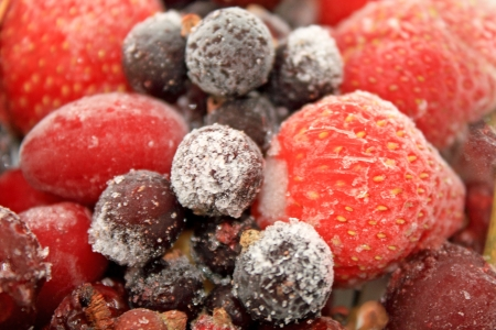 Close up of the different frozen berries for dessert