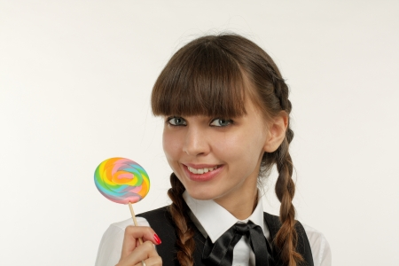 Close up of lovely girl with lollipop Stock Photo - 18266668
