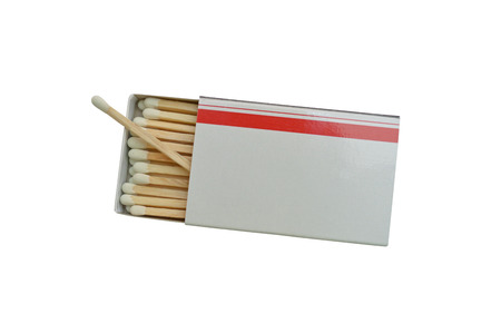 match box: Over match in white and red box