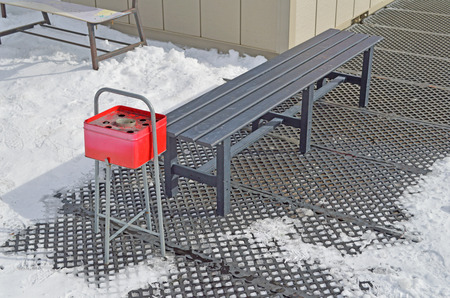 ski bench metal park bench images stock pictures royalty free metal park