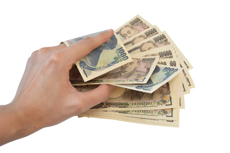yen note: Count Japanese Yen Note Stock Photo