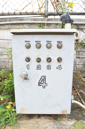 control box: Electric control box with push buttons and switches outdoor Stock Photo