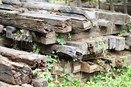 sleeper: a group of old wooden sleeper