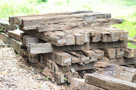 wood railroads: a group of old wooden sleeper