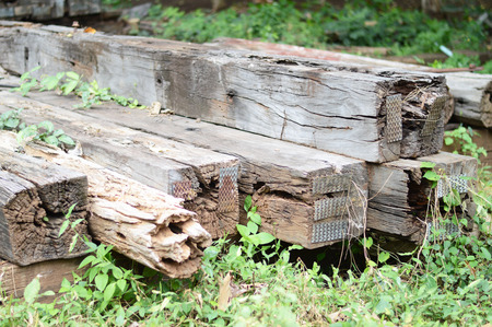 a group of old wooden sleeper