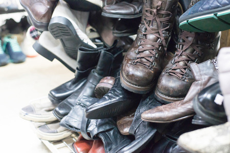 second hand: Shop of second hand shoes. for sale. Stock Photo