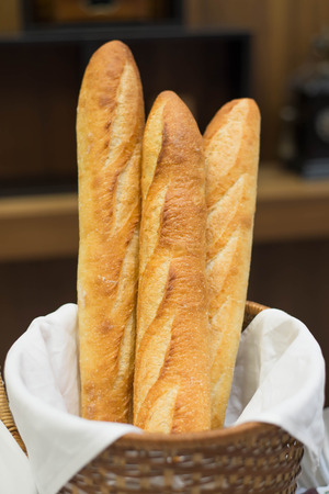 French bread in basket. Stock Photo
