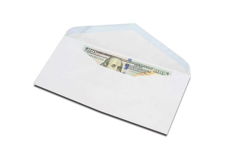 US One-Hundred-Dollar bill in white envelope isolated on white background.