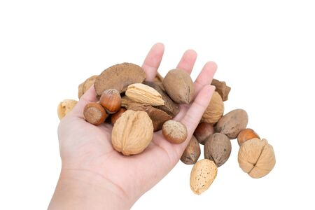 Hand holding mixed nuts isolated on white background. Stok Fotoğraf