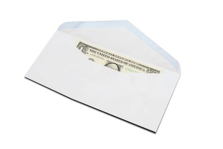 US One-Dollar bill in white envelope isolated on white background.