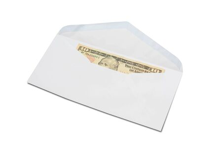 US Ten-Dollar bill in white envelope isolated on white background.