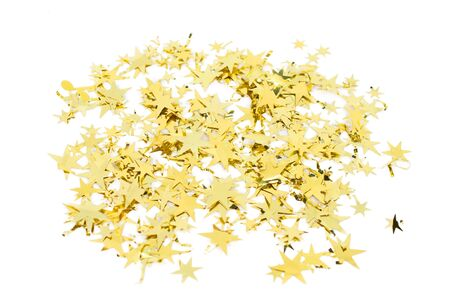 Group of gold stars for decoration Christmas or New year isolated on white background.