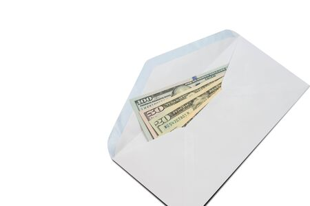 US Dollar bill in white envelope isolated on white background.